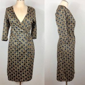 Vintage wrap dress chain print Y2K late 90s small